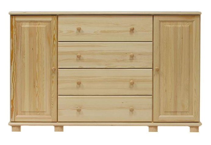 Sideboard 060 4 Drawer 2 Door Solid Pine Wood Clearly