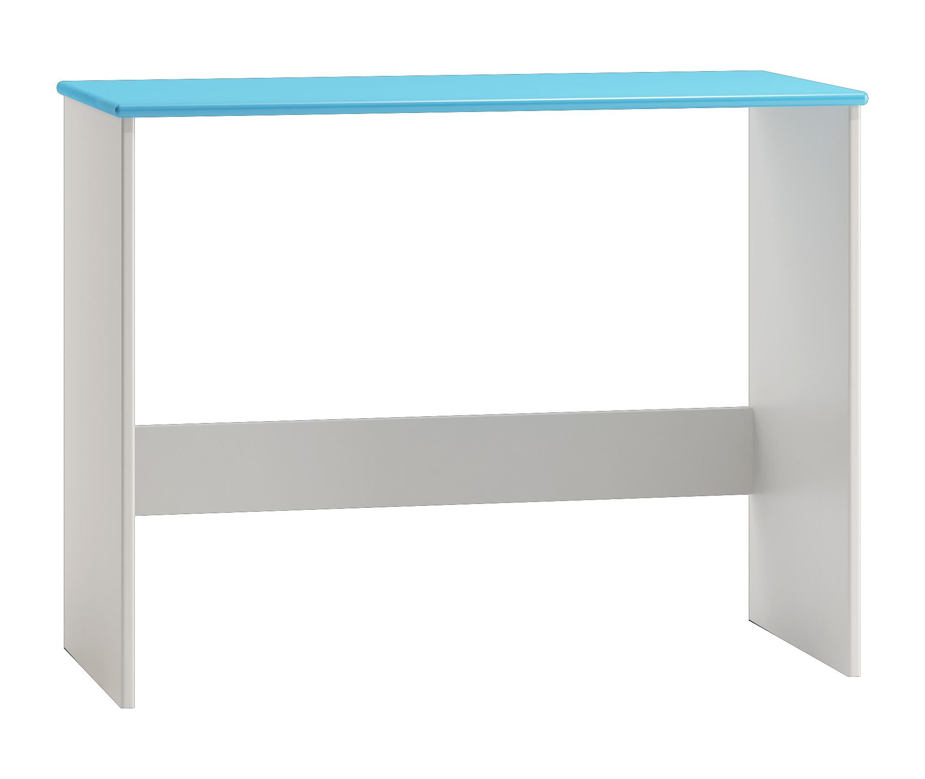 Schreibtisch kiefer massiv vollholz wei blau lackiert 009 for Schreibtisch vollholz