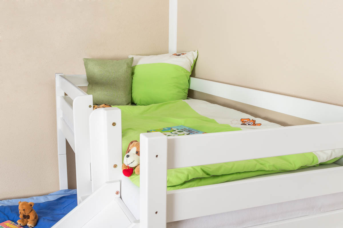 L Shaped Bunk Bed Phillip Solid Beech Wood With Slide
