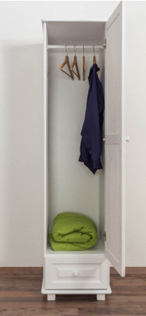 Wardrobe pine solid wood painted white 001 - Dimensions 190 x 47 x 60 cm (H x W x D)
