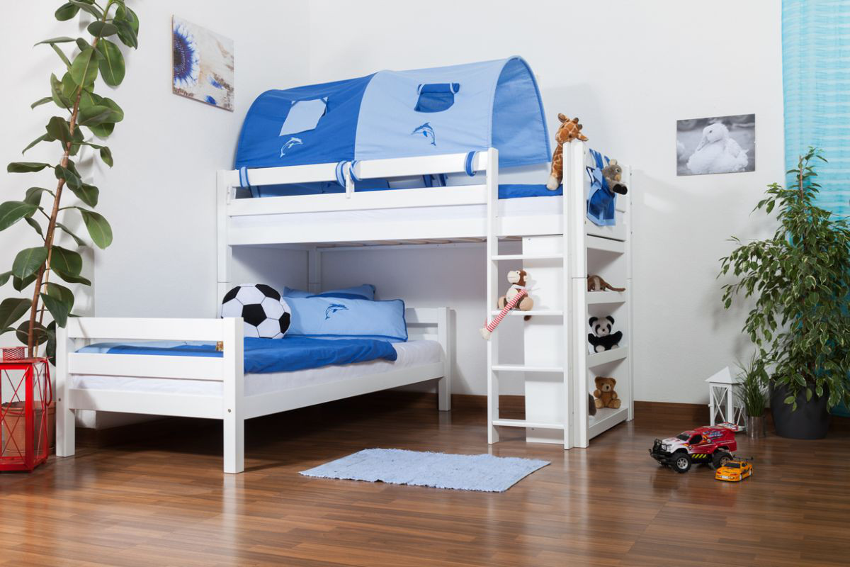 L Shaped Bunk Bed Moritz Solid Beech Wood Convertible White