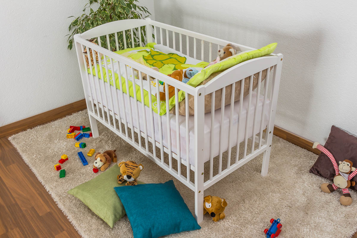 Crib Children S Bed Solid Pine Wood In A White Paint Finish 102 Includes Slatted Frames Dimensions 60 X 120 Cm