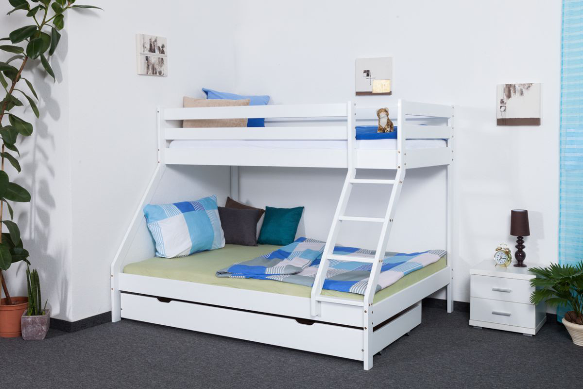 Triple Sleeper Bunk Bed Lukas Solid Beech Wood White Painted