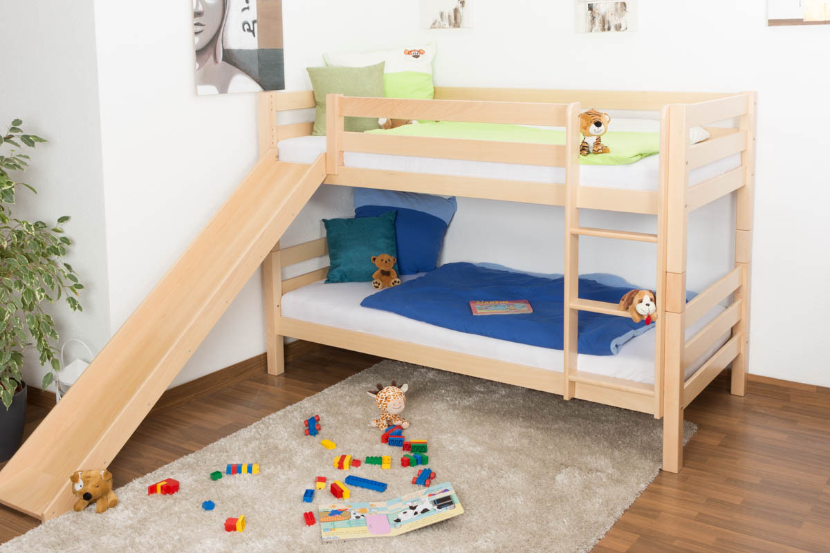 Bunk Bed Children S Bed David With Slide Solid Beech Wood