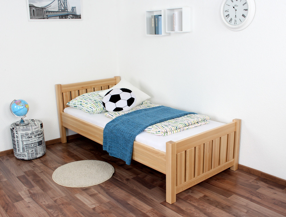 Children\'s bed / teen bed solid, natural beech wood 107, including ...