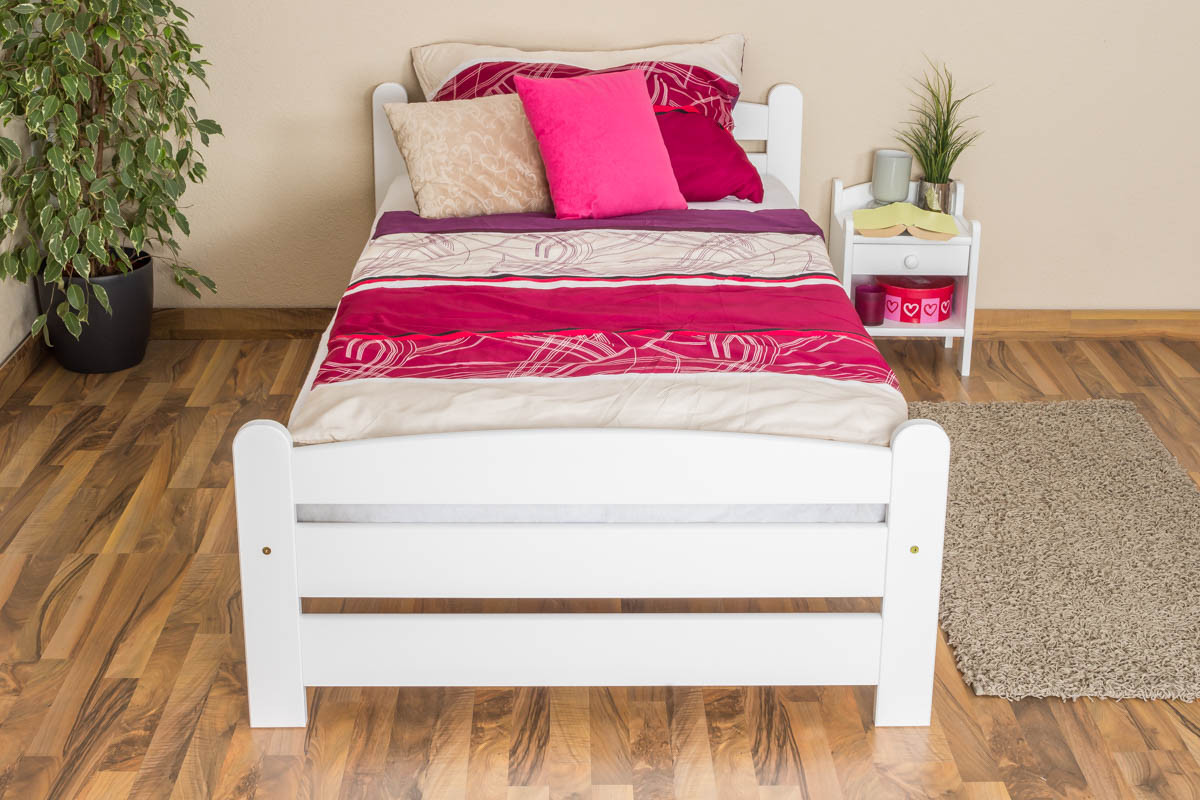 single bed guest bed 118 solid beech wood white finish 100 x 200 cm. Black Bedroom Furniture Sets. Home Design Ideas