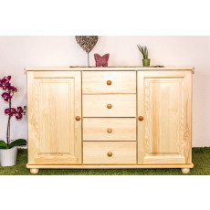 Sideboard Junco 173, 2 door, 4 drawer, solid pine wood, cleary varnished - H78 x W121 x D42 cm