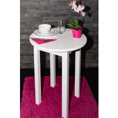 Table Pine Solid wood white Junco 234A (round) - Ø 60 cm