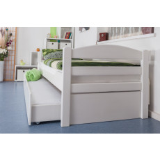 """Single bed """"Easy Premium Line"""" K1/h/s incl. trundle bed frame and cover plates, solid beech wood, white - 90 x 200 cm"""
