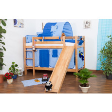 Bunk bed Jonas, solid beech wood, with slide, convertible, clearly varnished, incl. slatted frames - 90 x 200 cm
