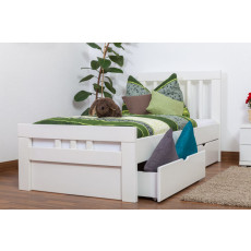 "Single bed ""Easy Premium Line"" K8 incl. 2 underbed drawer and 1 cover plate, solid beech wood, white - 90 x 200 cm"