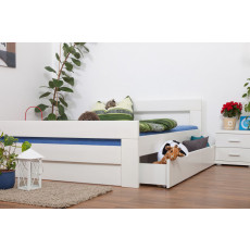 """Double bed / Storage bed """"Easy Premium Line"""" K6 incl. 2 drawers and 1 cover plate, solid beech wood, white - 160 x 200 cm"""