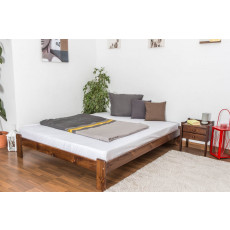 Teenage bed solid, pine wood nut colored A10, including slatted frame - Measurements 160 x 200 cm