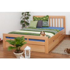 """Double bed / Storage bed K8 """"Easy Premium Line"""" incl. 4 drawers and 2 cover plates, solid beech wood, clearly varnished - 160 x 200 cm"""