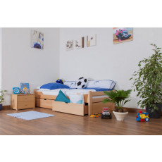 """Children's bed / Youth bed """"Easy Furniture"""" K1/1n incl. 2 drawer and 2 cover plates, clearly varnished - 90 x 200 cm"""