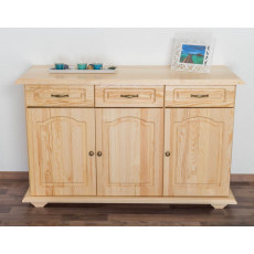 Sideboard Pipilo 14, 3 drawer, 3 door, solid pine wood, clearly varnished - H88 x W139 x D54 cm