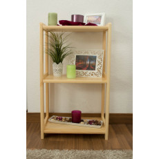 Low 3-Tier Shelving Unit Junco 57D, solid pine, clearly varnished - H86 x W50 x D30 cm