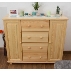 Sideboard 042, 4 drawer, 2 door, solid pine wood, clearly varnished - 100H x 118W x 42D cm