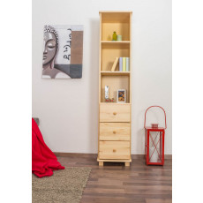 Narrow / Tall 190cm Standard Bookcase B005, Solid pine wood, clearly varnished - H190 x W40 x D42 cm