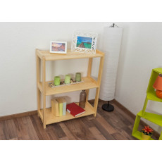 Low 3-Tier Shelving Unit Junco 57B, solid pine, clearly varnished - H86 x W70 x D30 cm