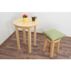 Table Junco 234A, solid pine wood, clearly varnished - Height 75 cm, Diameter 60 cm