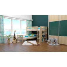 L-Shaped Bunk bed / Children's bed Phillip, solid beech wood, with shelf, clearly varnished, incl. slatted frame - 90 x 200 cm