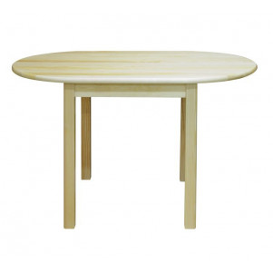 Round Dining Table Junco 231B, solid pine wood, clear finish - H75 x W75 x L130 cm