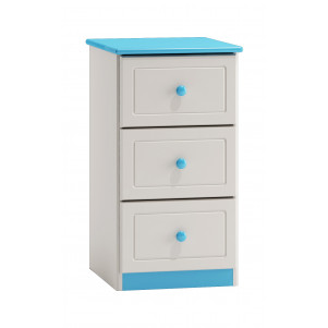 Narrow 3 Drawer Chest 007, solid pine wood, blue-white varnished - H74 x W40 x D47 cm