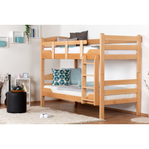 "Bunk bed ""Easy Premium Line"" K3/n, solid beech wood, clearly varnished, convertible - 90 x 200 cm"