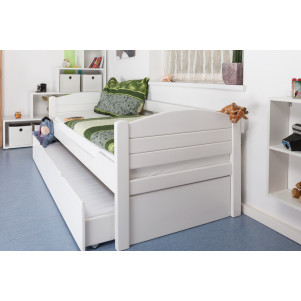 "Single bed / Day bed ""Easy Sleep"" K1/s, incl. trundle bed frame and cover plates, solid beech wood, white painted - 90 x 200 cm"