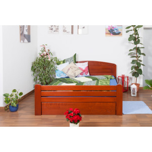 "Double bed ""Easy Sleep"" K7 incl. cover plate, solid beech wood, cherry coloured - 160 x 200 cm"