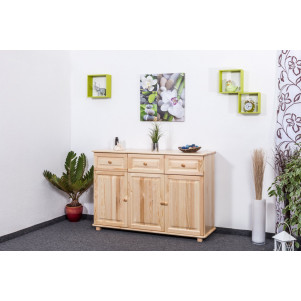 Sideboard 009, 3 doors, 3 drawers, solid pine wood, clearly varnished - H100 x W150 x D45 cm