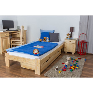 Children's bed / Youth bed solid, natural pine wood A10, includes slatted frame- Dimensions 90 x 200 cm