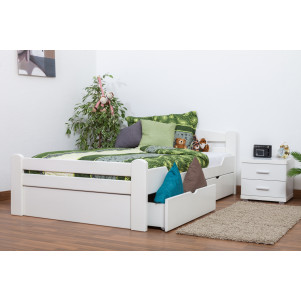 "Single bed ""Easy Sleep®"" K4 incl. 2 underbed drawer and 1 cover plate, solid beech wood, white - 120 x 200 cm"