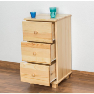 3 Storage Drawer Cabinet 024, solid pine wood, clearly varnished - H78 x W40 x D42 cm