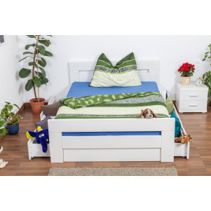 "Single bed / Storage bed ""Easy Premium Line®"" K6 incl. 4 drawers and 2 cover plates, solid beech wood, white - 140 x 200 cm"