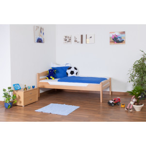 "Children's bed / Youth bed ""Easy Premium Line"" K1/2n, solid beech wood, clearly varnished - 90 x 190 cm"