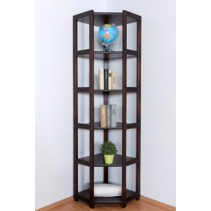 Shelf/Corner Shelf Pine solid wood Walnut color Junco 58 - Dimensions: 200 x 71 x 54 cm (H x W x D)