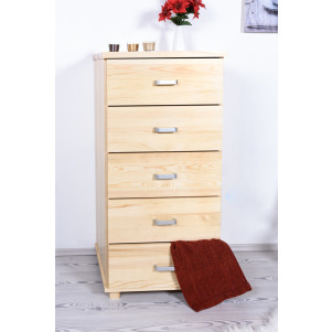 Narrow 5 Drawer Storage Cabinet Columba 15, solid pine wood, clearly varnished - H124 x W60 x D50 cm