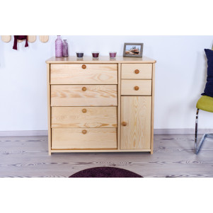 Shoe cabinet solid, natural pine wood Junco 220 - Dimensions 80 x 90 x 40 cm