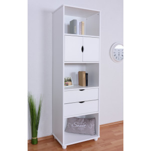 Tall / Narrow 195cm Drawer Bookcase Junco 47C, solid pine, white finish - H195 x W60 x D42 cm