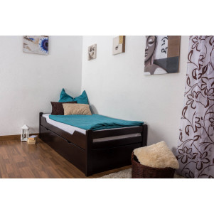 "Single bed ""Easy Premium Line"" K1/1h incl. trundle bed frame and cover plates, solid beech wood, chocolate brown - 90 x 200 cm"