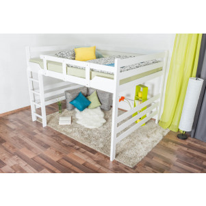Adult bunk bed ' Easy Premium Line ® ' K15/n, solid beech wood white lacquered, convertible - lying area: 160 x 200 cm