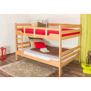 Adult bunk beds ' Easy premium line ' K16/n, head and foot part straight, solid beech wood natural - lying surface: 140 x 190 cm, divisible