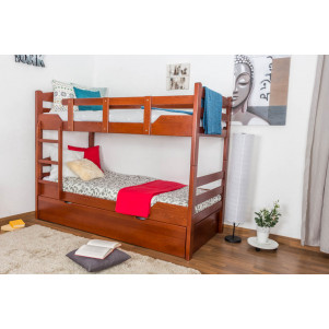 "Bunk bed ""Easy Premium Line"" K3/h incl. trundle bed frame and cover plates, solid beech wood, cherry-coloured - 90 x 200 cm"