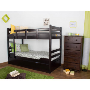 """Bunk bed """"Easy Sleep"""" K3/h incl. trundle bed frame and cover plates, solid beech wood, chocolate coloured - 90 x 200 cm"""