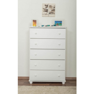 Chest of drawers pine solid wood white lacquered Junco 140 – Dimensions 123 x 80 x 42 cm