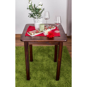 SideTable / Dining table 002, solid pine wood, nut-colour finish - H75 x W60 x D60 cm