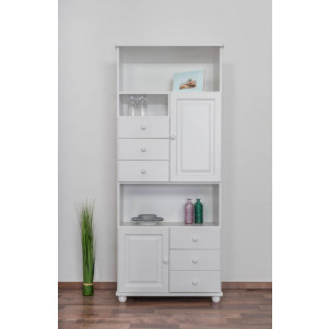 Rack Pine solid wood white lacquered Junco 63 - Size 195 x 80 x 42 cm