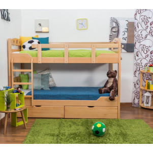 "Bunk bed ""Easy Premium Line"" K11/n, solid beech wood, clearly varnished, convertible - 90 x 200 cm"